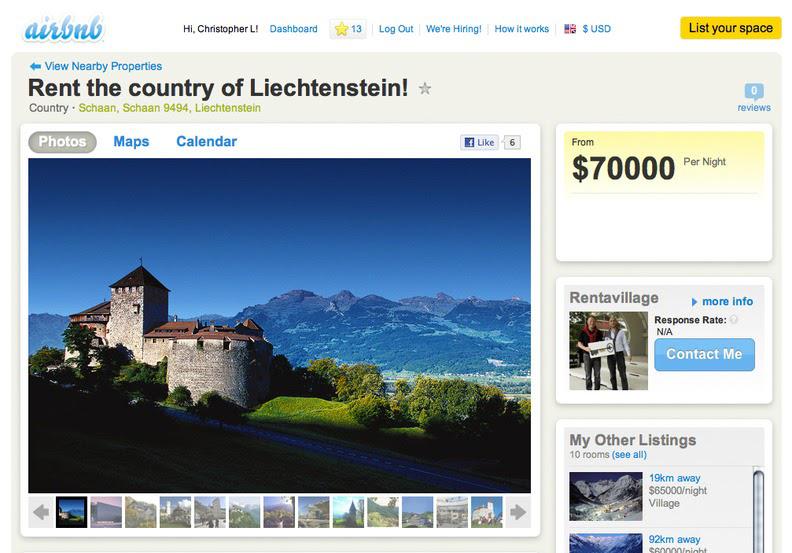 Liechtenstein Airbnb listing