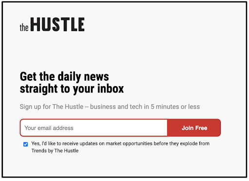 The Hustle landing page