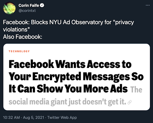 Facebook NYU tweet