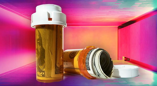 pill bottle with cash