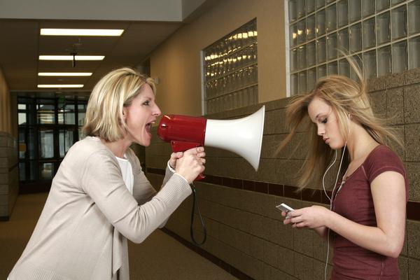 teacher with a megaphone